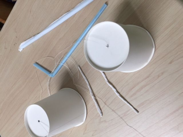 発達凸凹のための原始反射統合セッションで糸電話を作りました